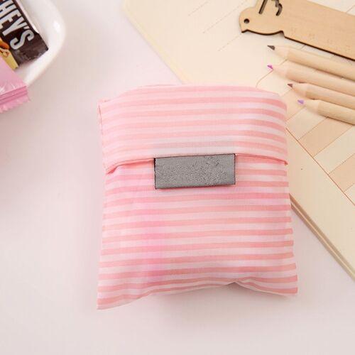 2 stks afdrukken opvouwbare boodschappentas grote capaciteit opslag zakken (roze strepen)