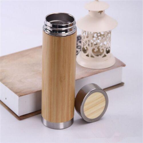 Creatieve bamboe thermosfles roestvrijstalen vacuüm kolf capaciteit: 450ml stijl: roestvrijstaal