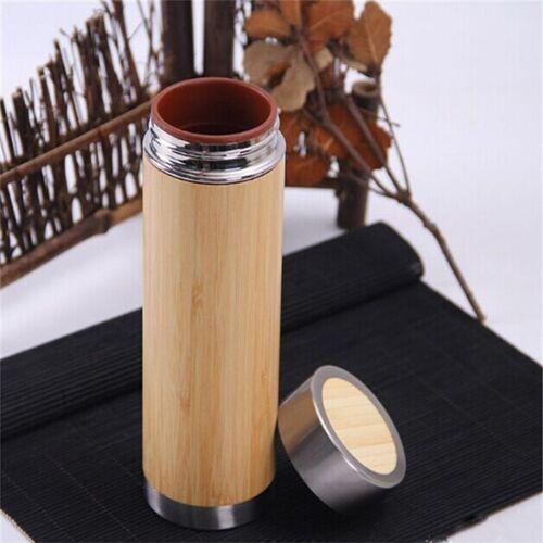 Creatieve bamboe thermosfles roestvrijstalen vacuüm kolf capaciteit: 450ml stijl: paarse klei