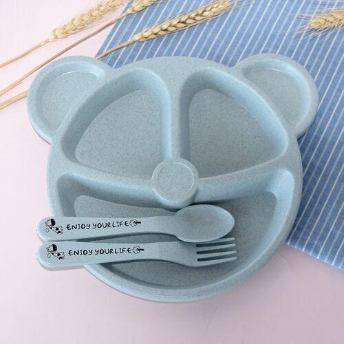 3 STKS/set baby Bowl + lepel + vork voeden voedsel tafelgerei cartoon Bear Kids gerechten eten serviesgoed (blauwe set)