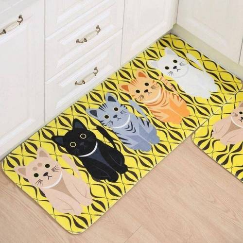 Keuken tapijten deurmatten CuteWelcome Vloermatten hal kat Vloermatten woonkamer anti-slip Tapete grootte: 60x90cm (geel)
