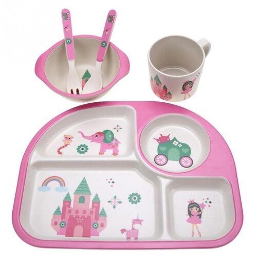 5 STKS/set eco-vriendelijke bamboe fiber baby plaat gerechten 4 slots kinderen servies gerechten dinnerware (roze)