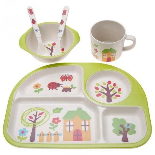 5 STKS/set eco-vriendelijke bamboe fiber baby plaat gerechten 4 slots kinderen servies gerechten dinnerware (groen)