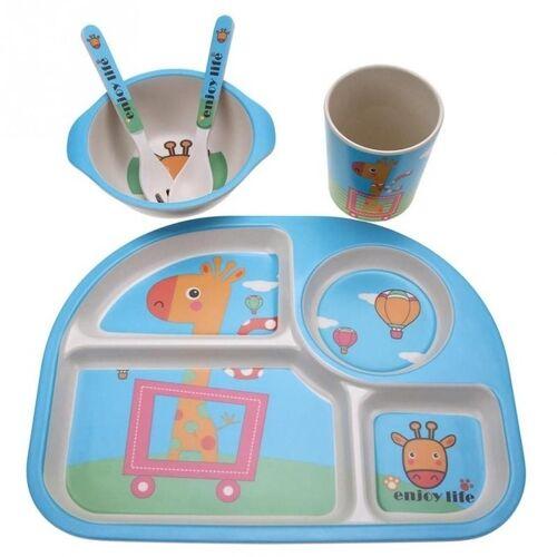 5 STKS/set eco-vriendelijke bamboe fiber baby plaat gerechten 4 slots kinderen servies gerechten serviesgoed (blauw)