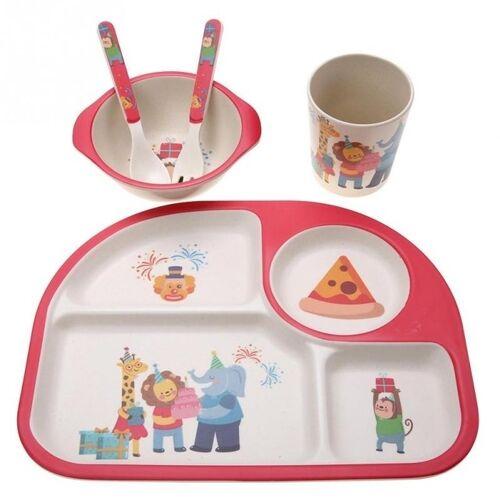 5 STKS/set eco-vriendelijke bamboe fiber baby plaat gerechten 4 slots kinderen servies gerechten serviesgoed (rood)