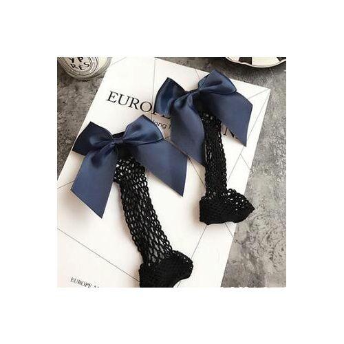 Sexy sokken ademend Bow knoop fishnet sokken vrouwen Harajuku sok holle netten transparante mesh sokken (donkerblauw groot net)
