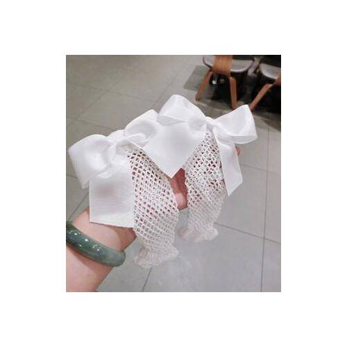 Sexy sokken ademend Bow knoop fishnet sokken vrouwen Harajuku sok holle netten transparante mesh sokken (wit medium netto)