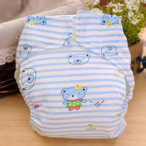 Cartoon Bear patroon Waterdicht ademend Baby katoen doek luier blauw maat: M