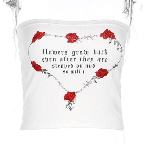 2 stuks print Rose Strapless tops maat: L (wit)