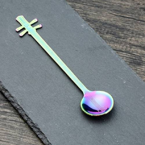 RVS koffie mengen lepel creatieve muziek instrument vorm lepel stijl: Yueqin kleur: kleurrijk