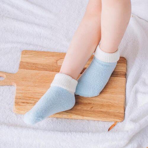 Herfst en winter Candy kleur Kinderendikke warme koraal Fleece sokken antislip vloer sokken maat: M (blauw)