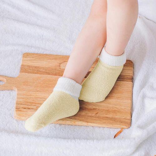 Herfst en winter Candy kleur Kinderendikke warme koraal Fleece sokken antislip vloer sokken maat: M (geel)