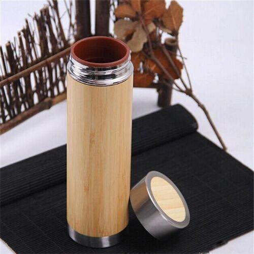 Creatieve bamboe thermosfles roestvrijstalen vacuüm kolf innerlijke galblaas: paarse klei (280ml)