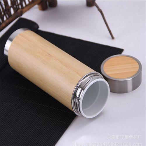 Creatieve bamboe thermosfles roestvrijstalen vacuüm kolf innerlijke galblaas: keramiek (280ml)