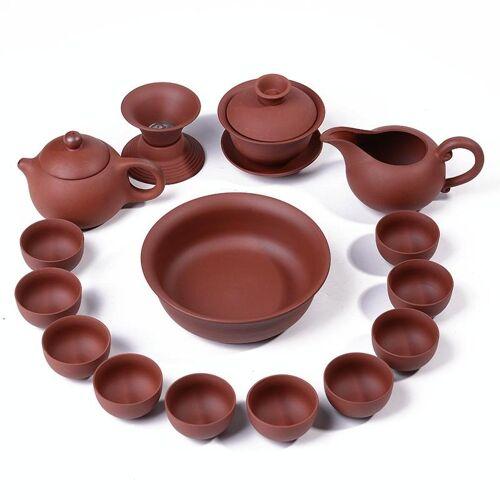 14 in 1 paarse klei keramische theepot Kung Fu thee set serveren Cup theekopje Chinese Drinkware met 8 thee bekers (rood)