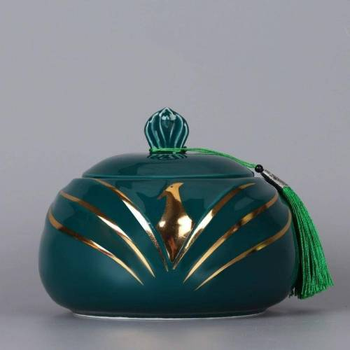 Thee blikjes keramische verzegeld blikjes thee blikjes thee opslag tanks kleine Puer thee vak huishoudelijke thee vat thee jar 800ml (groen)