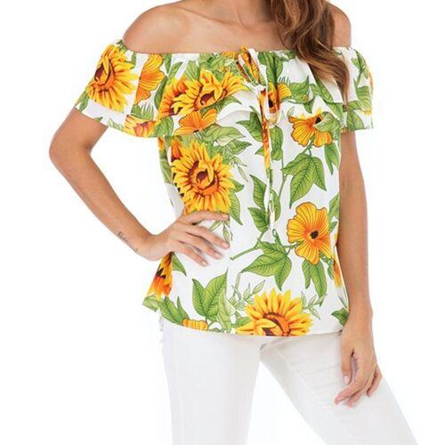 Strapless shirt met print (kleur: wit maat: L)