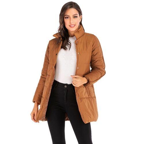 Vrouwen Solid Kleur Kort naar beneden jas (kleur:Bruine maat: L)