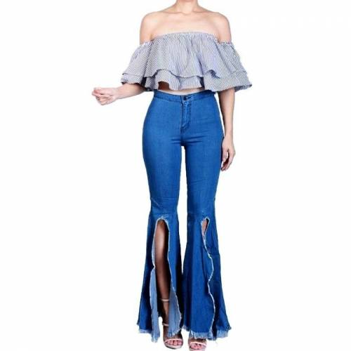 Vrouwen Split Wide Leg High-Rise Stretch Jeans (Blue_L)