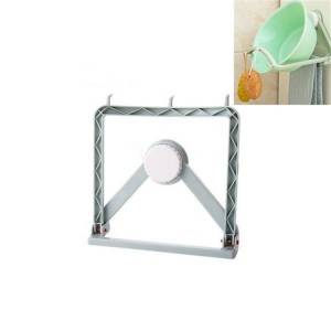 Bathroom Suction Cup Wall-mounted Washbasin Storage Rack Kitchen Hook Rack(Blue)
