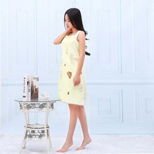 Badhanddoeken Fashion Lady wearable snel drogen Magic Bad handdoek strand Spa badjassen Bad rok (licht geel)