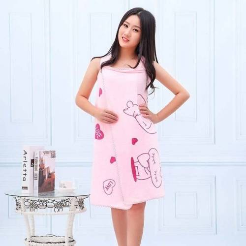 Badhanddoeken Fashion Lady wearable snel drogen Magic Bad handdoek strand Spa badjassen Bad rok (roze)