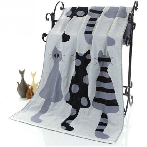 Cute cat katoen gaas cartoon volwassen Bad handdoek Home textiel grote handdoek badjas Camping sport strandlaken kinderen deken (grijs)