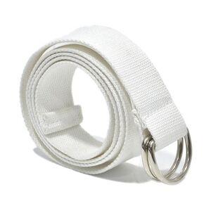 2 PCS Unisex Canvas Waist Belts Double Rings Buckle Waistband Strap Belts Solid Casual Belt Lengte:105 x 3 2 cm (Wit)