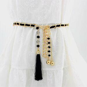 Women Metal Waist Chain Belt Skirt Accessories with Tassel(Black)
