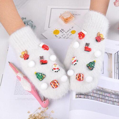 Een winterhandschoen paar kerst serie volledige vinger Warm konijn haar dubbele laag dikke handschoenen (wit)