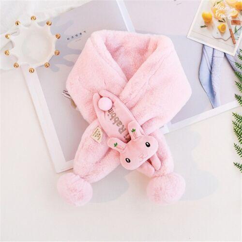 Children Cartoon Animal Plush Warm Scarf Size:80 x 10cm(Rabbit+Pink)
