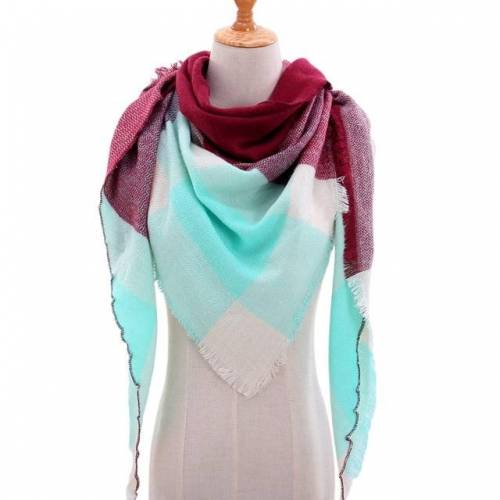 Lente Winter gebreide sjaal nek geruite Pashmina warme sjaals sjaals Lady Wrap(B1)
