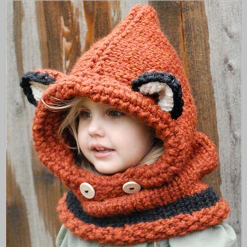 Fox oor vorm winter kinderen Siamese sjaal breien hoed