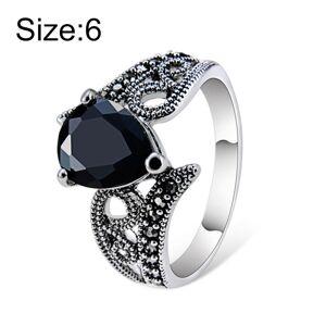 Verzilverd zwart Zirkoon hartvormige kristallen ring voor vrouwen (zilver met diamant de VS grootte: 6) (zwart)