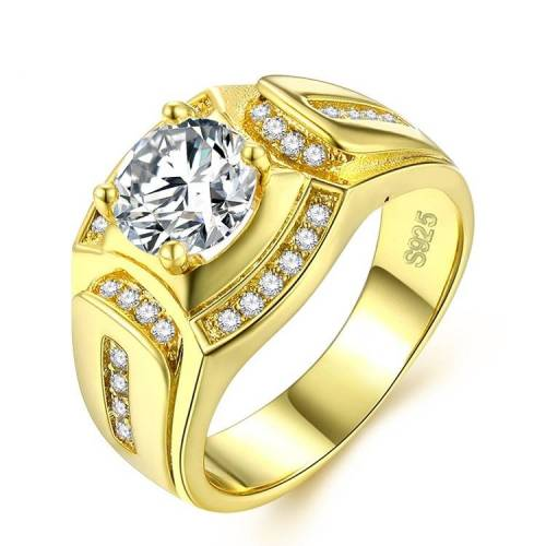 Fashion zakenman 18K witgoud verguld + mannen AAA Zircon Diamond Ring grootte: 9 Diameter: 18 9 mm omtrek: 59 5 mm