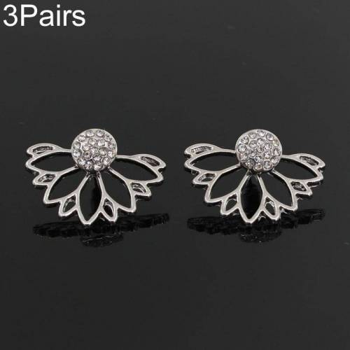 3 paar holle Lotus vormige Diamond Stud Earrings (zilver)