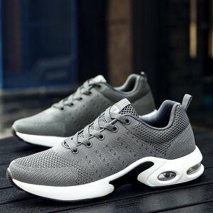 Trend mesh comfortabele en ademende sport hardloopschoenen voor heren (kleur: grijs maat: 41)