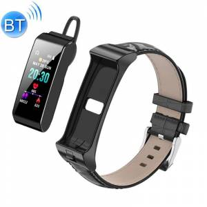 iTalk B3S 0 96 inch kleurenscherm Bluetooth headset + Smart armband met lederen horlogeband ondersteuning AI Voice Control/sport Health Monitor/bericht push (zwart)