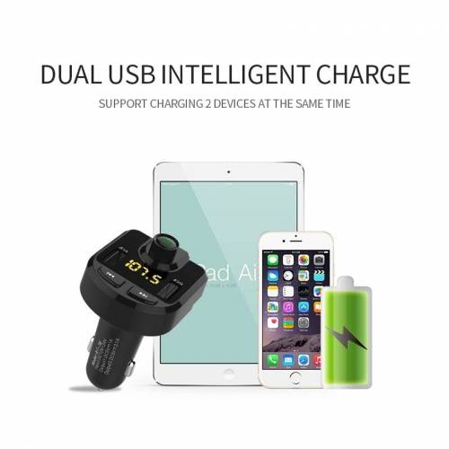 Bluetooth FM zender draadloze In-Car Radio Adapter muziek speler Hands-Free bellen carkit Dual USB lader steunen Bluetooth / Micro SD-kaart / TF kaart / USB-schijf