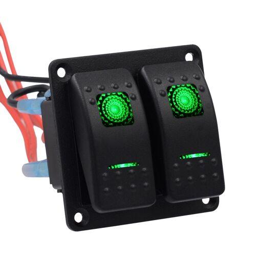 5PIN DC 12V/24V circuit breakers knop Toggle schakelaar paneel met LED indicator voor auto RV Marine Boat (groen licht)