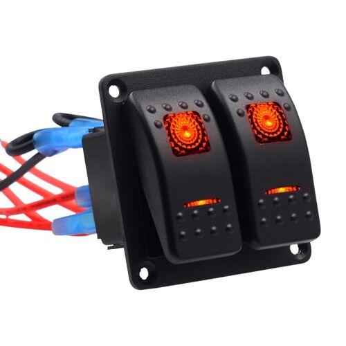 5PIN DC 12V/24V circuit breakers knop Toggle schakelaar paneel met LED indicator voor auto RV Marine Boat (rood licht)