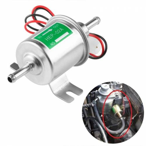 HEP-02A universele auto 12V brandstofpomp inline lage druk Elektrische brandstofpomp (zilver)