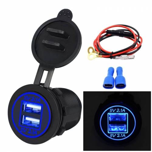 Universele auto Dual USB Charger stopcontact adapter 4.2 A 5V IP66 met diafragma + 60cm kabel (blauw licht)