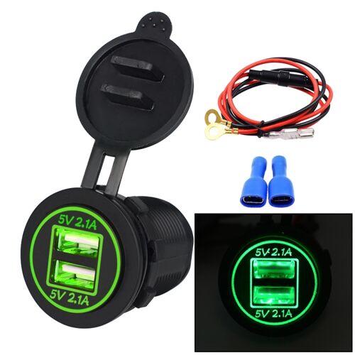 Universele auto Dual USB Charger stopcontact adapter 4.2 A 5V IP66 met diafragma + 60cm kabel (groen lampje)