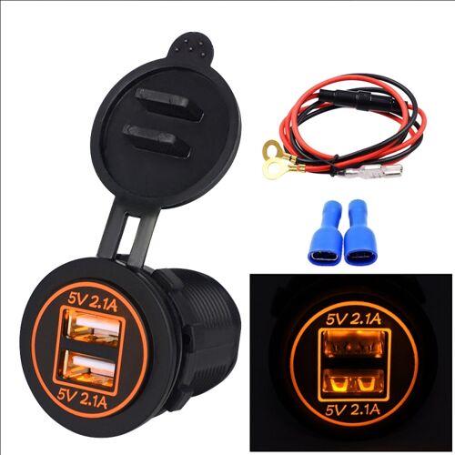 Universele auto Dual USB Charger stopcontact adapter 4.2 A 5V IP66 met diafragma + 60cm kabel (oranje lampje)