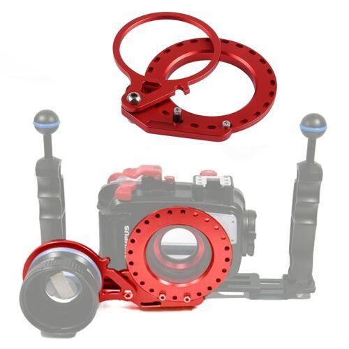 PULUZ aluminiumlegering 67mm tot 62mm Swing natte lens dioptrie adapter houder voor DSLR onderwater duiken huisvesting (rood)