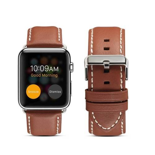 Apple Voor Apple Watch Series 5 & 4 44mm/3 & 2 & 1 42mm milieubescherming lederen riem horlogeband (licht bruin)