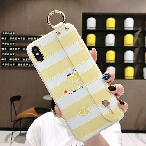 Citroen patroon polsband TPU Case voor iPhone XR (citroen patroon model B)