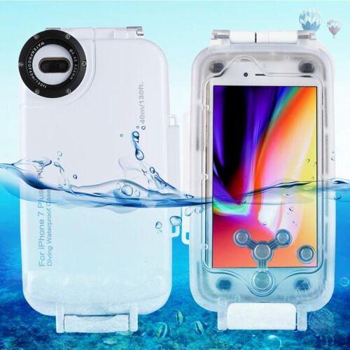 Apple HAWEEL voor iPhone 8 & 7 Plus 40m / 130ft waterdichte duiken huisvesting Foto Video nemen onderwater Cover Case(White)