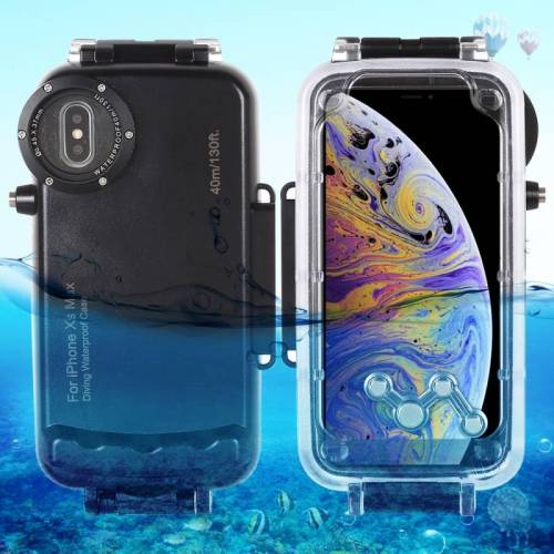 Apple HAWEEL 40m / 130ft waterdichte duiken huisvesting Foto Video nemen dekken onderwaterbehuizing voor iPhone XS Max(Black)